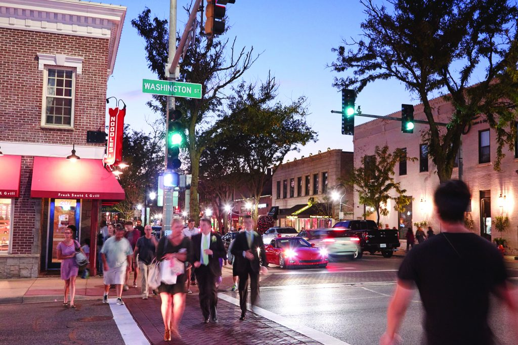 Downtown at Night City of Naperville